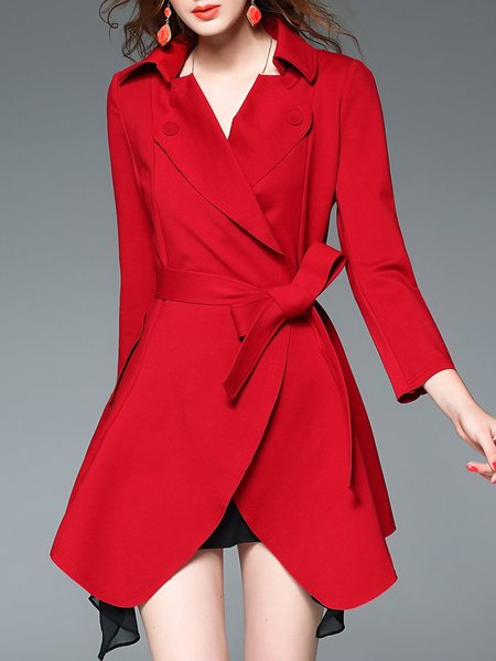 Red Work Asymmetric Coat