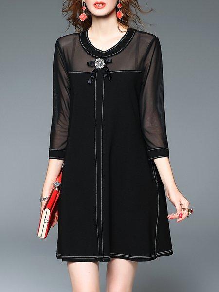 Black Plain Casual Cotton Mini Dress