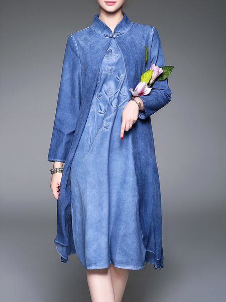 Blue Vintage Stand Collar Embroidered Paneled Midi Dress