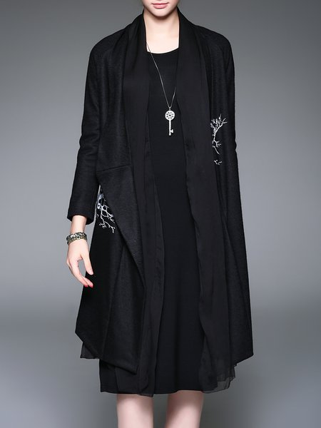 Black Casual Pockets Printed Coat