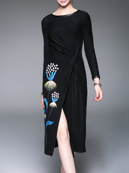 Black Printed Elegant Ruched Midi Dress