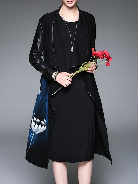 Black H-line Long Sleeve Printed Coat