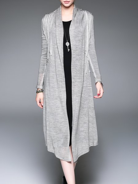 Gray H-line Plain Casual Knitted Cardigan