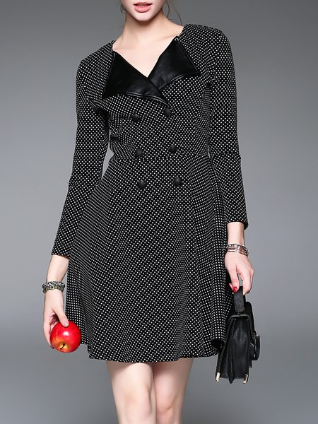 Black Casual Pockets Polka Dots Coat