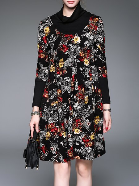 Black Floral Printed H-line Long Sleeve Midi Dress