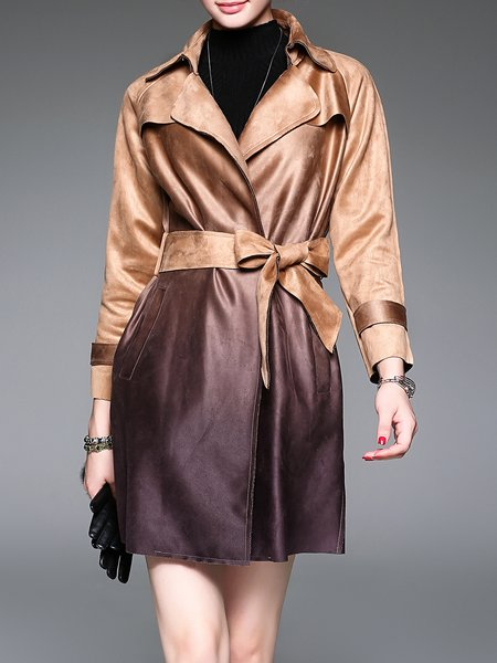 Khaki Ombre/Tie-Dye Lapel Casual Polyester Trench Coat