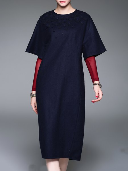 Navy Blue Casual Crew Neck Slit Midi Dress