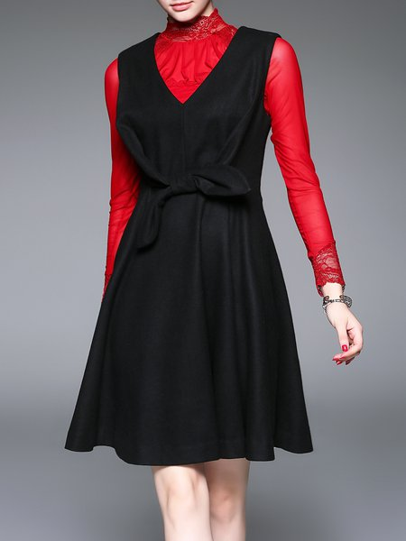 Black V Neck Elegant Plain Bow Midi Dress