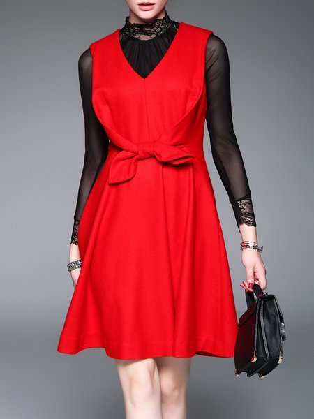 Red Bow Sleeveless Plain Elegant Midi Dress