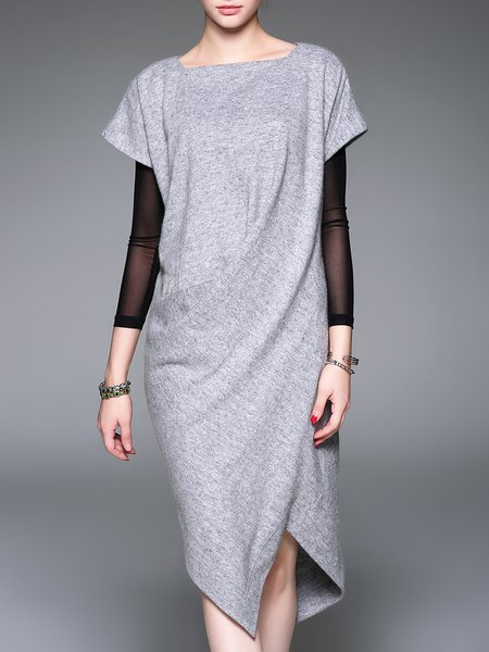 Gray Asymmetric Simple Plain Midi Dress