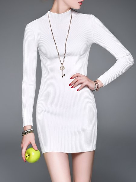Long Sleeve Casual Knitted Sweater Dress