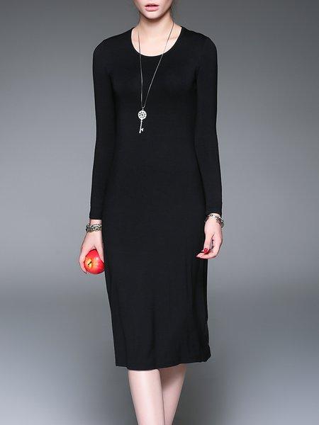 Black Solid Casual Midi Dress