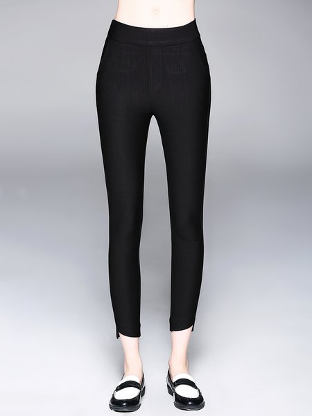 Black Sheath Solid Casual Pockets Legging