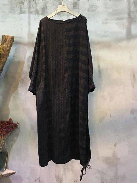 Batwing Crew Neck Casual Linen Dress