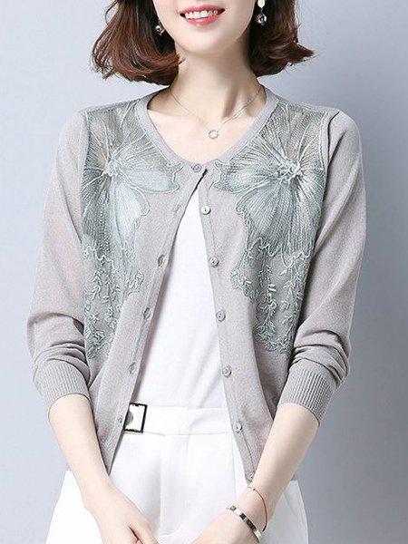 Crew Neck Floral Casual Long Sleeve Ice Yarn Knitted Cardigan