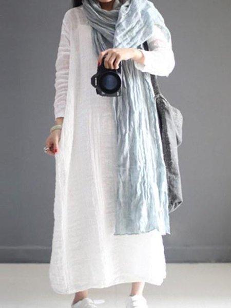 Casual Long Sleeve V Neck Linen Dress