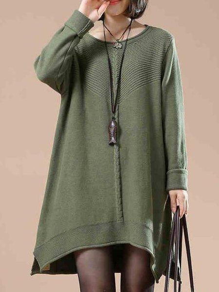 Green Long Sleeve Crew Neck Linen Dress