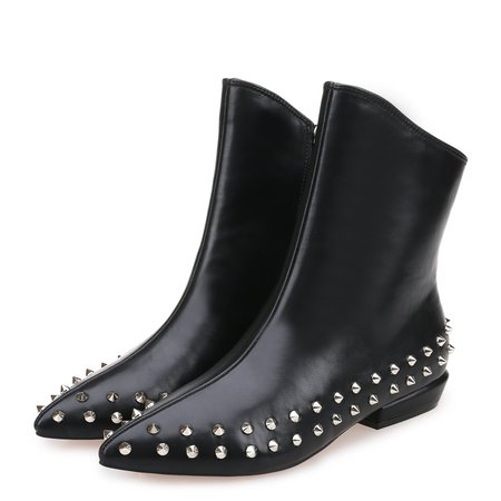 Black Spring/Fall Casual Low Heel Leather Boots
