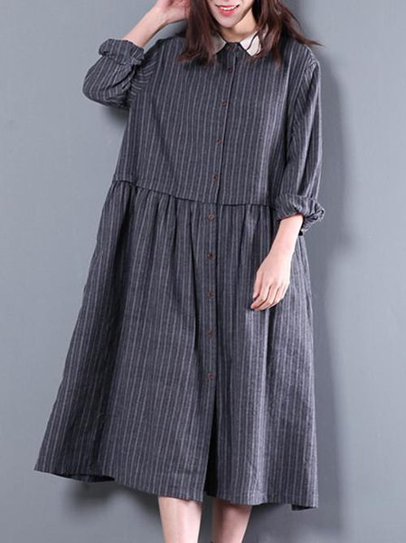 Deep Gray Shirt Collar Cotton Long Sleeve Linen Dress