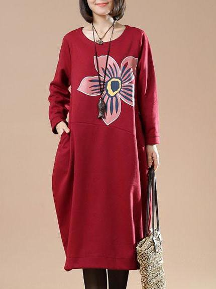 Floral-print Long Sleeve Cocoon Casual Linen Dress