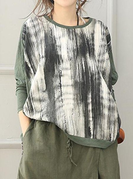 Abstract Casual Long Sleeve Printed Cotton Linen Top