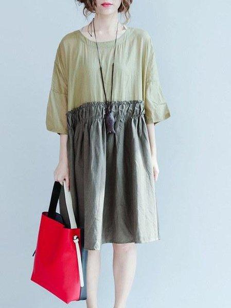 Swing 3/4 Sleeve Casual Linen Dress