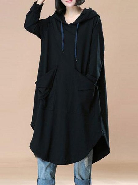 Plus Size Slit Casual Long Sleeve Solid Cotton Dress
