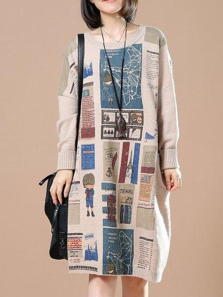 Abstract Printed Long Sleeve Casual H-line Linen Knitwear