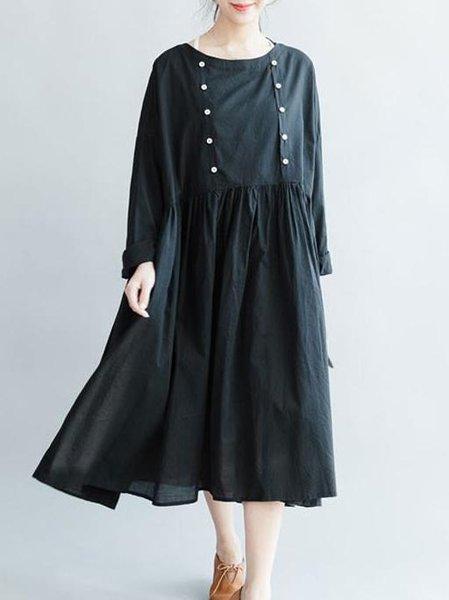 Black Solid A-line Long Sleeve Crew Neck Linen Dress