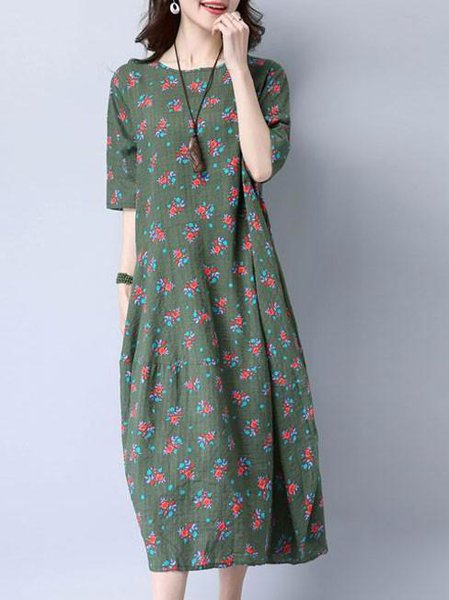 Half Sleeve Girly Cotton Floral Crew Neck Linen Dress