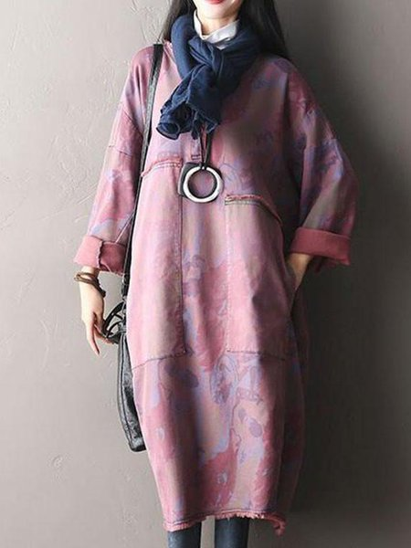 Pink Cocoon Cotton Casual Linen Dress