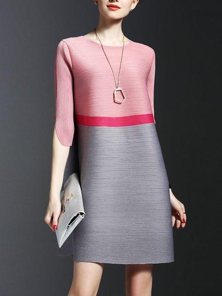 Midi Dress Shift Daytime Half Sleeve Casual Dress