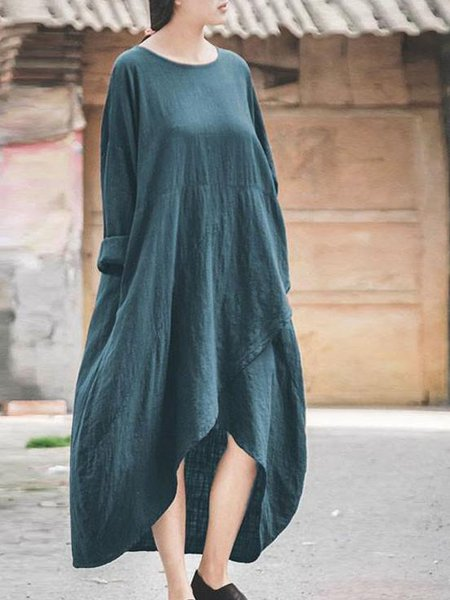 Pockets Casual Asymmetrical Long Sleeve Crew Neck Linen Dress
