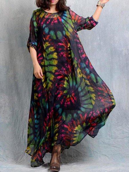 3/4 Sleeve Printed Crew Neck Casual Swing Linen Dress