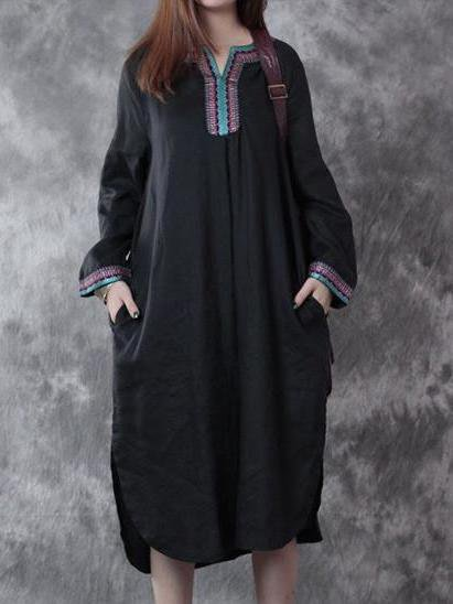 Black V Neck Long Sleeve Linen Dress