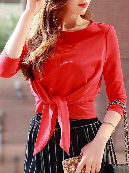 Red Cotton Crew Neck Half Sleeve T-Shirt