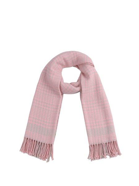 Pink Fringed Checkered Acrylic Elegant Scarf