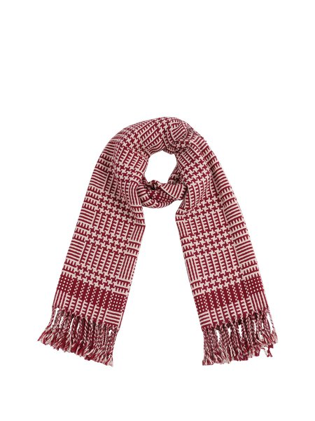 Red Fringed Checkered Elegant Acrylic Scarf