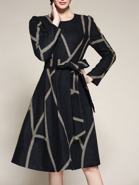Navy Blue A-line Crew Neck Elegant Printed Midi Dress