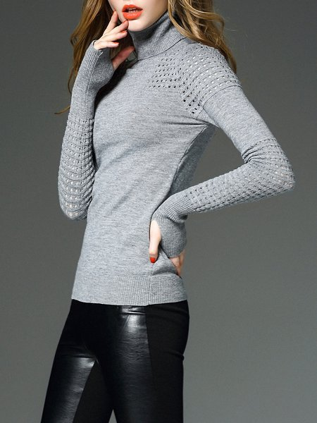 Eyelet Casual Long Sleeve Sweater