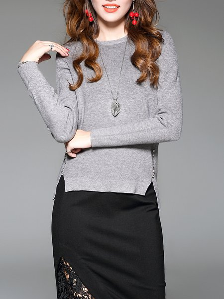 Gray Casual Crew Neck Sweater