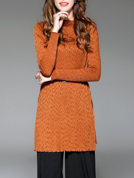 Camel Simple Ribbed Cotton Shift Sweater Dress