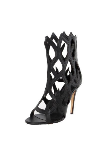 Black Summer PU Hollow-out Stiletto Heel Sandals