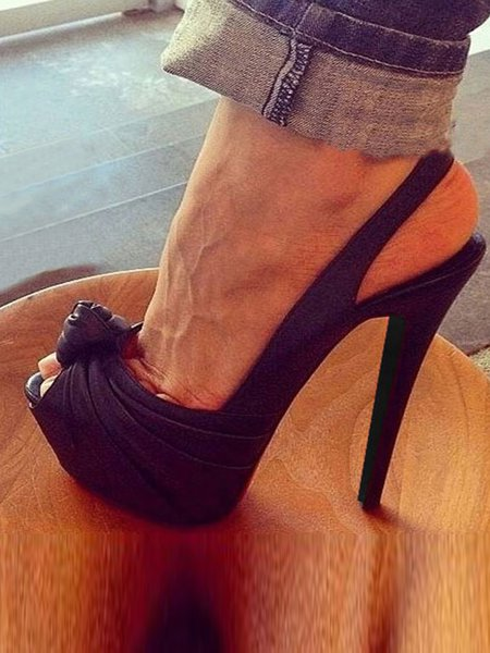 Black PU Hollow-out Stiletto Heel Sandals