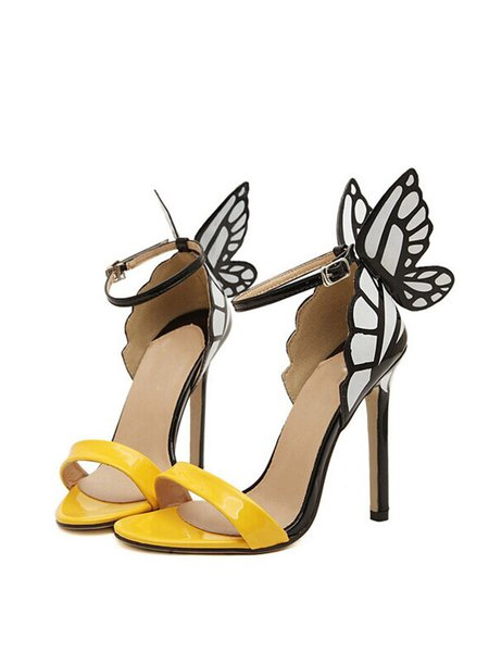 Yellow Stiletto Heel Summer PU Hollow-out Sandals