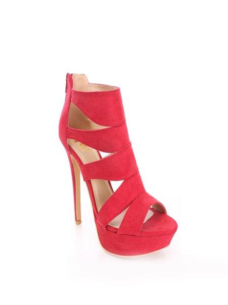 Hollow-out PU Summer Dress Stiletto Heel Sandals