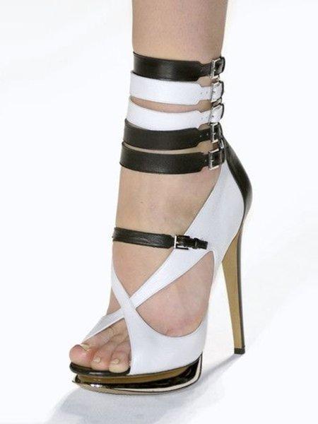 Black-white Buckle Summer Stiletto Heel PU Sandals
