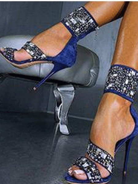 Royal Blue Stiletto Heel Summer Hollow-out Sandals