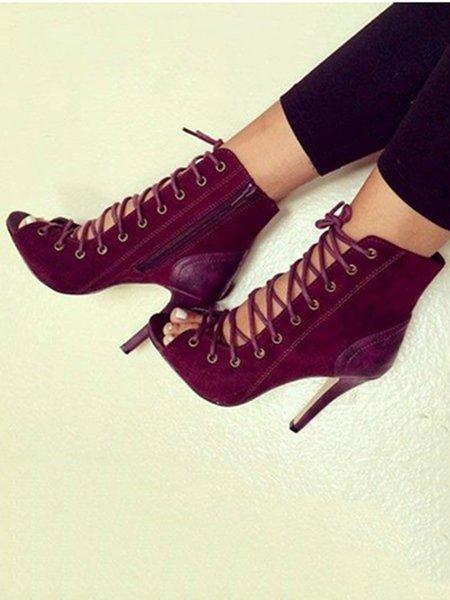 Burgundy Lace-up Summer Sandals