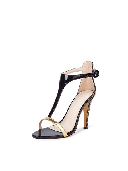 Black Stiletto Heel T-strap Hollow-out PU Sandals
